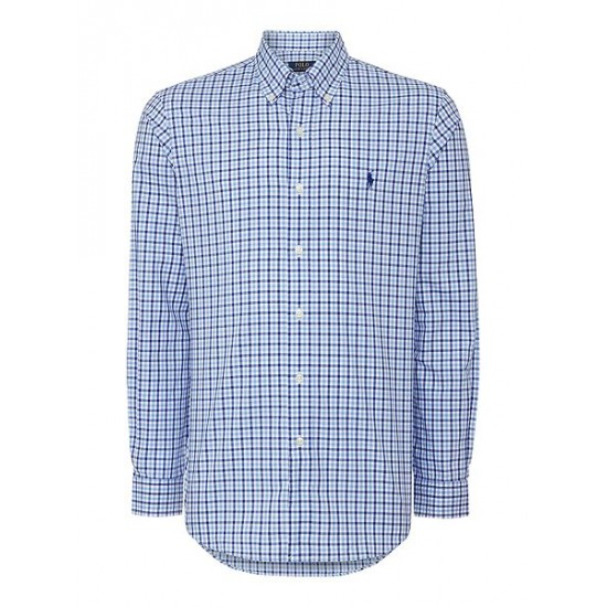 Polo ralph lauren men check custom fit long sleeve shirt blue