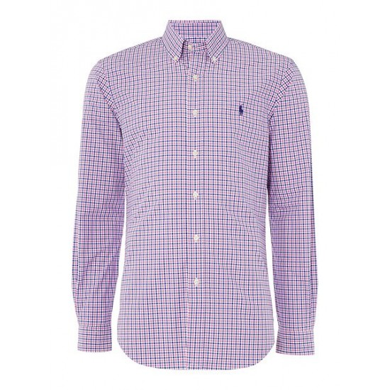 Polo ralph lauren men multi gingham slim fit long sleeve sports shirt pink