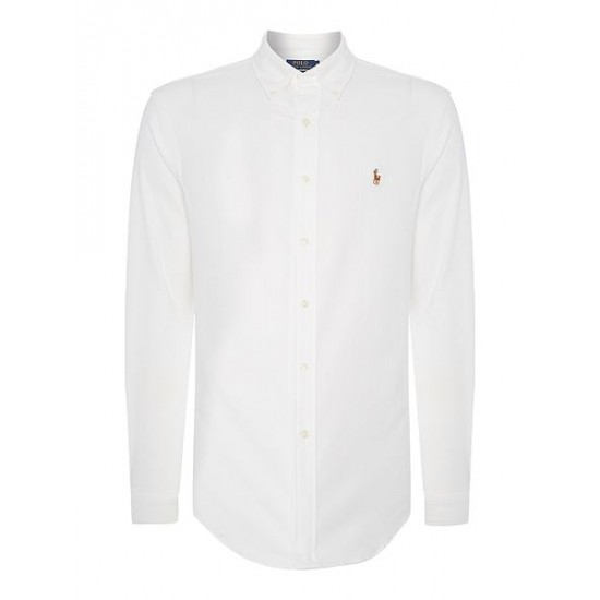 Polo ralph lauren long sleeve slim fit oxford shirt white