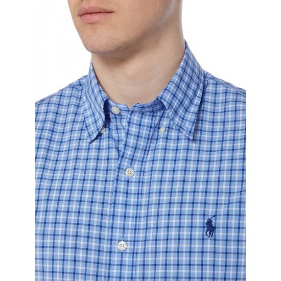Polo ralph lauren men slim fit poplin shirt blue
