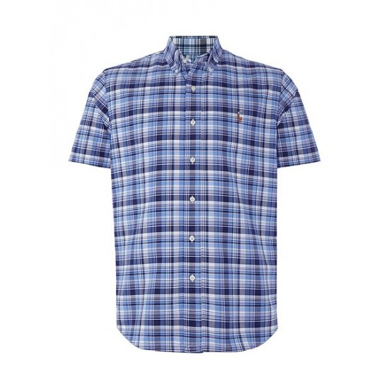 Polo ralph lauren men custom fit multi check short sleeve shirt blue