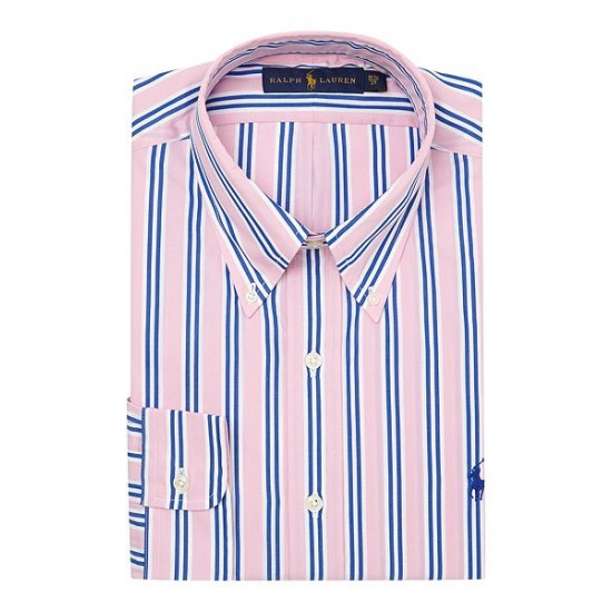 Polo ralph lauren men button down collar bold stripe shirt pink