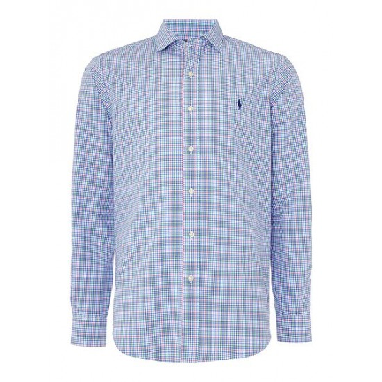 Polo ralph lauren men poplin long sleeve multi gingham shirt blue