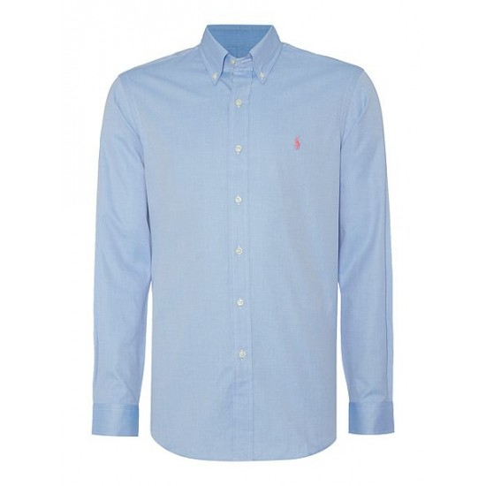 Polo ralph lauren men twill long sleeve custom fit shirt blue