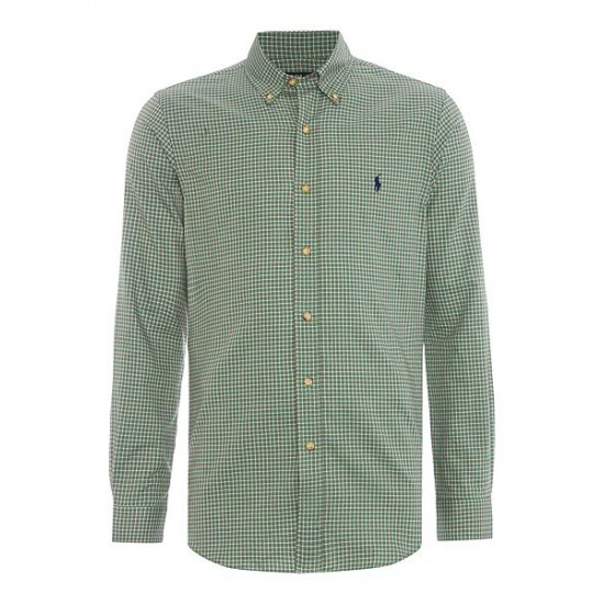 Polo ralph lauren men slim fit checked twill shirt emerald