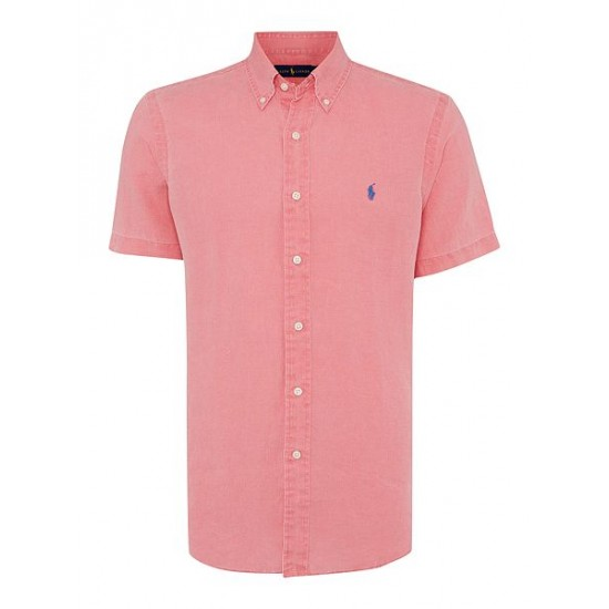 Polo ralph lauren men custom fit short sleeve linen shirt red
