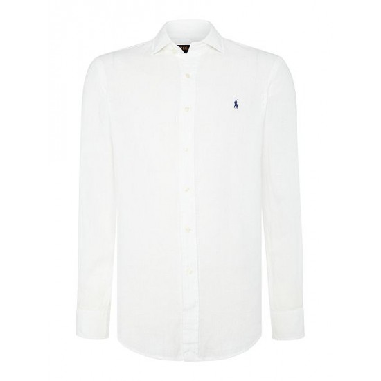 Polo ralph lauren men check custom fit long sleeve shirt white