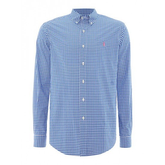 Polo ralph lauren men custom fit gingham shirt blue