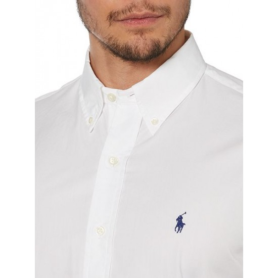Polo ralph lauren men long sleeve button down collar shirt white