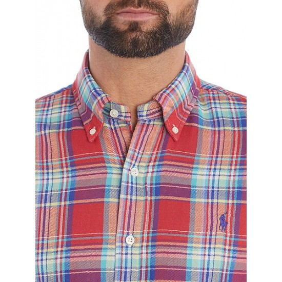 Polo ralph lauren men long sleeve slim fit checked shirt red