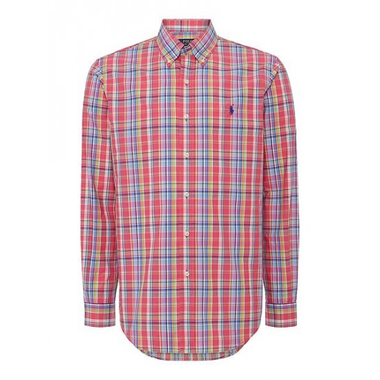 Polo ralph lauren men multi check custom fit long sleeve shirt ruby