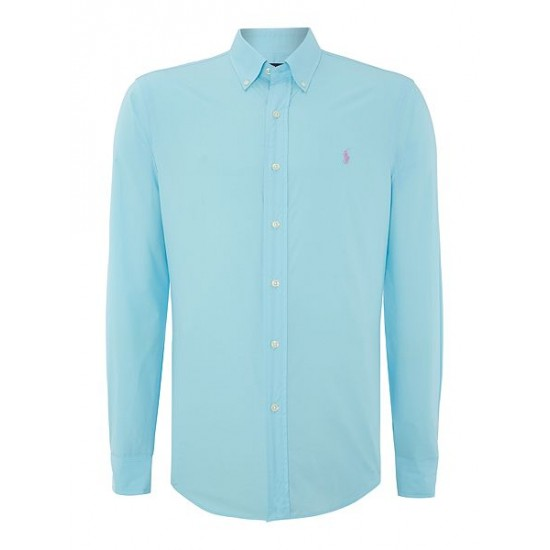 Polo ralph lauren men plain slim fit long sleeve shirt ice blue