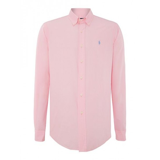 Polo ralph lauren men plain long sleeve button down shirt pink