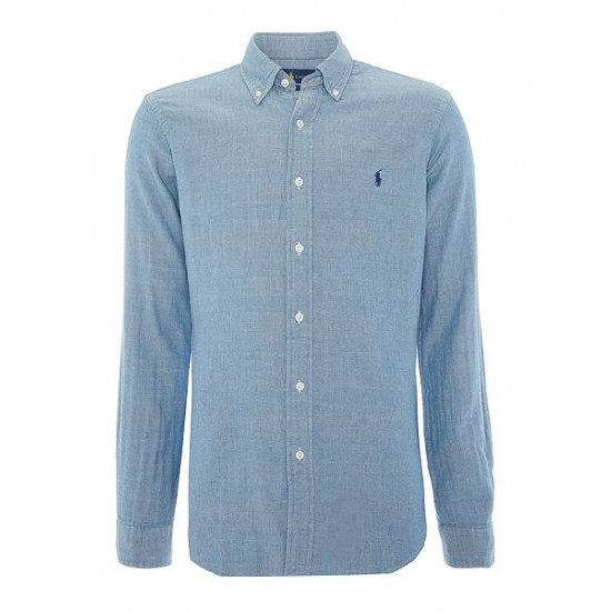 Polo ralph lauren men long sleeve slim fit checked shirt chambray