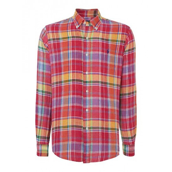 Polo ralph lauren men check custom fit linen shirt ruby
