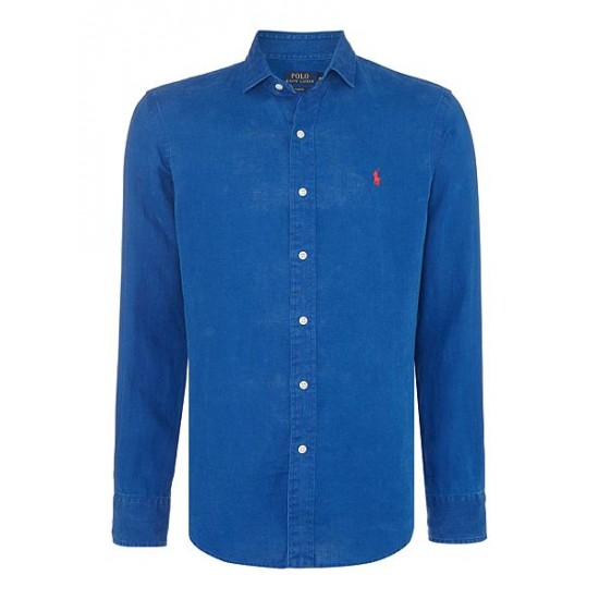 Polo ralph lauren mens check custom fit shirt blue fashion