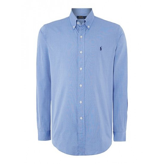 Polo ralph lauren men long sleeve button down collar shirt light blue