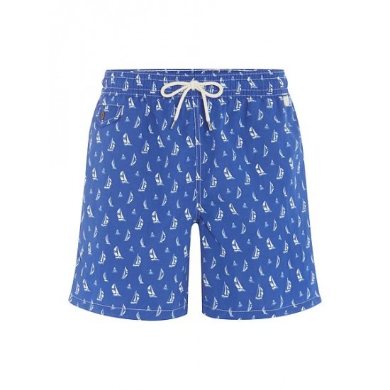 Polo ralph lauren men swim shorts with sail boat print turquoise