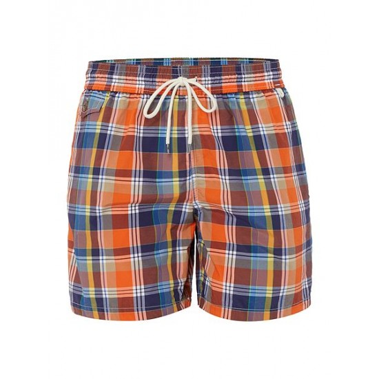 Polo ralph lauren men plaid print swim shorts yellow