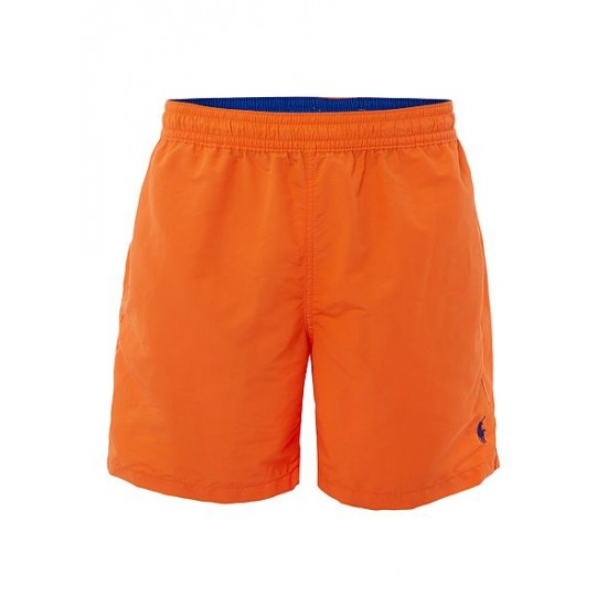 Polo ralph lauren men mid length logo swim shorts orange