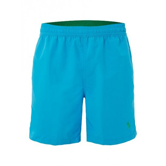 Polo ralph lauren men mid length logo swim shorts blue