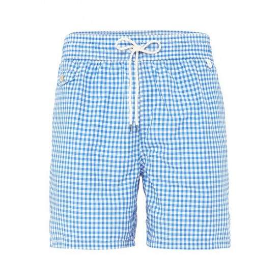 Polo ralph lauren men gingham print swim shorts blue