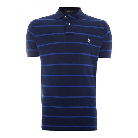 Polo ralph lauren men short sleeve custom fit wide stripe mesh polo navy