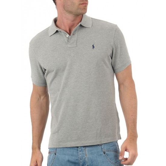 Polo ralph lauren men custom fit short sleeve polo shirt charcoal