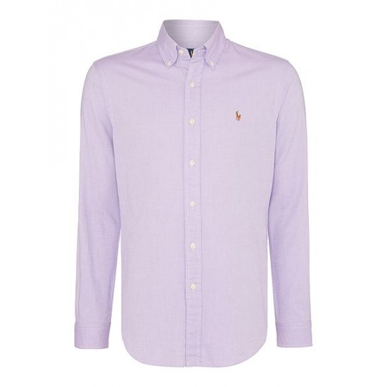 Polo ralph lauren men long sleeve slim fit oxford chambray shirt lavender