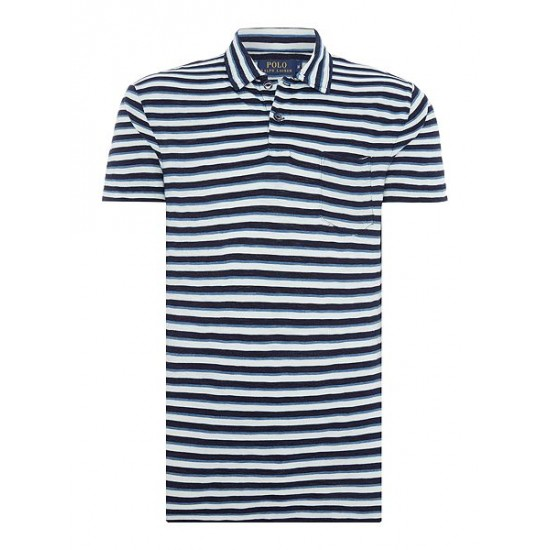 Polo ralph lauren men custom fit short sleeve stripe polo indigo