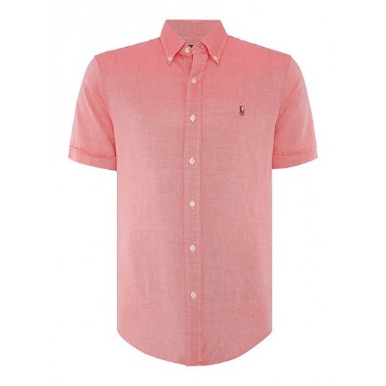 Polo ralph lauren men short sleeve slim fit oxford chambray shirt red