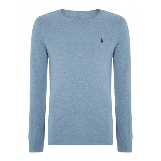 Polo ralph lauren men basic crew long sleeve tee ocean