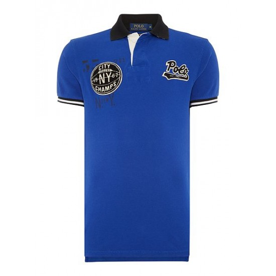 Polo ralph lauren men appliquéd slim fit polo shirt royal blue