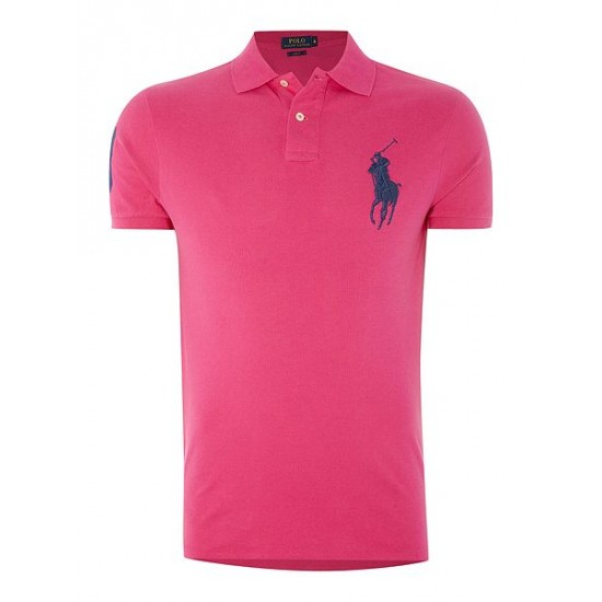 Polo ralph lauren men big polo player slim fit polo pink