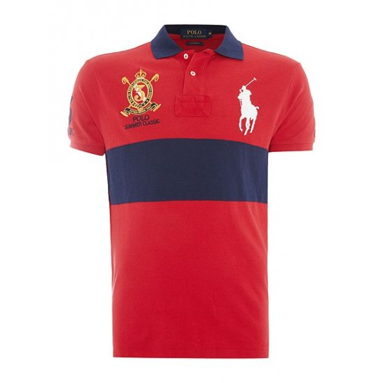 Polo ralph lauren men custom fit big polo player crest logo polo red