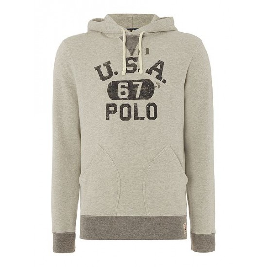 Polo ralph lauren men long sleeve printed hoody grey marl