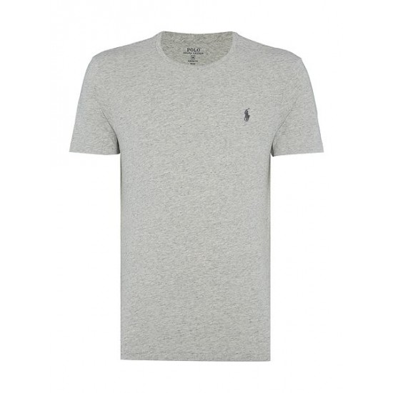 Polo ralph lauren men custom fit crew neck t shirt light grey marl