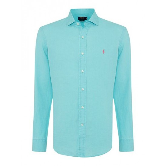 Polo ralph lauren men long sleeve slim fit linen shirt aqua