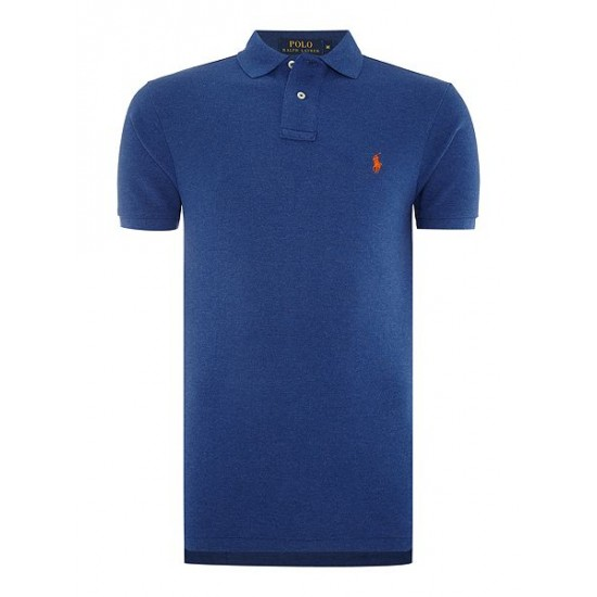 ralph lauren slim fit basic mesh polo royal blue men