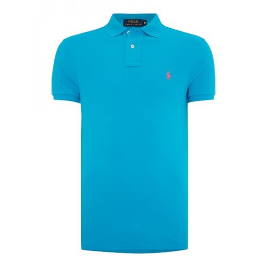 Polo ralph lauren men slim fit basic mesh polo stone blue