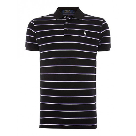 Polo ralph lauren men short sleeve custom fit stretch stripe mesh black