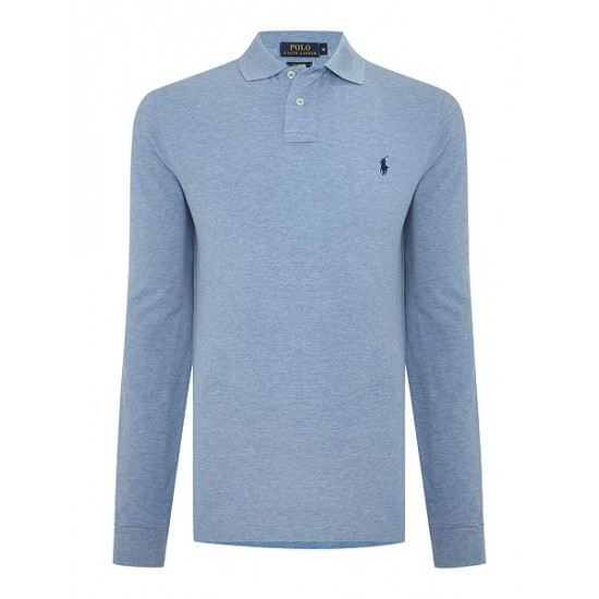 Polo ralph lauren men custom fit long sleeve polo shirt blue marl