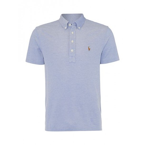 Polo ralph lauren men custom fit oxford pique polo indigo