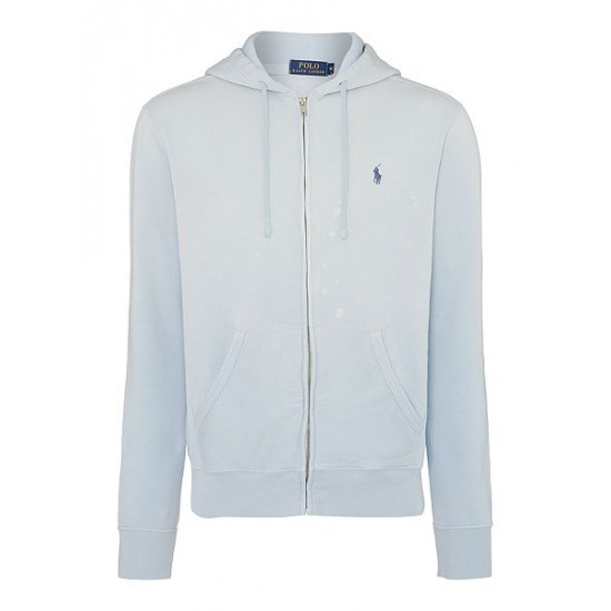 Polo ralph lauren men full zip hoodie mid blue