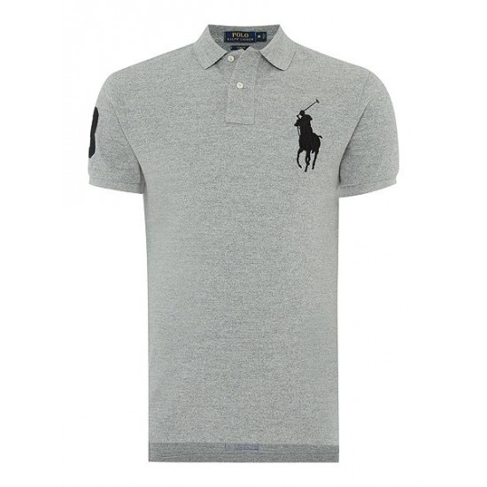 Polo ralph lauren men custom fit big pony polo shirt grey marl