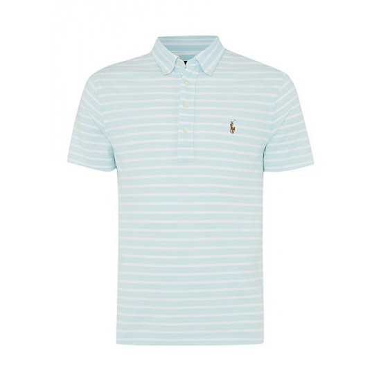 Polo ralph lauren men custom fit oxford stripe pique polo aqua
