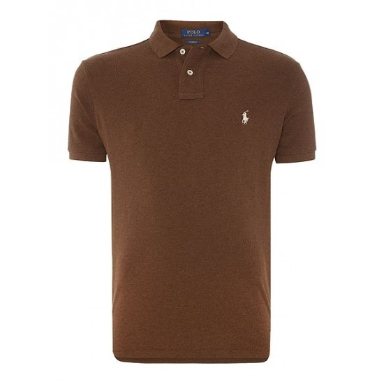 Polo ralph lauren men custom fit short sleeve polo shirt brown