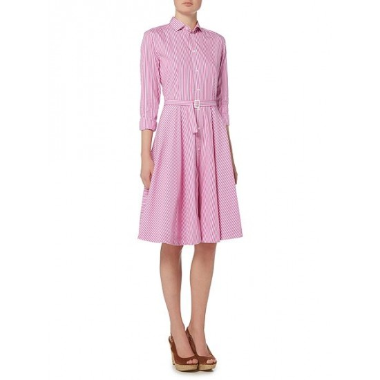 Polo ralph lauren women dori long sleeve stripe shirt dress pastel pink