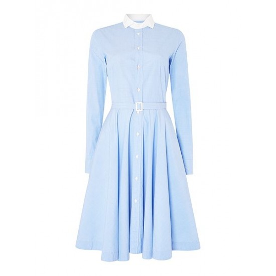 Polo ralph lauren women dori long sleeve shirt dress with white collar blue