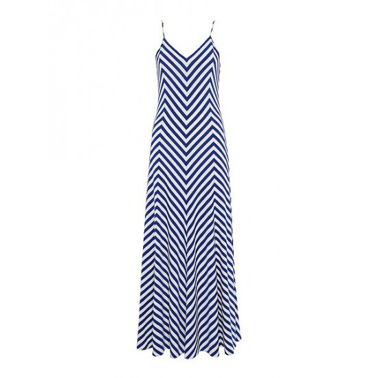 Polo ralph lauren women maxi dress in chevron stripe navy white
